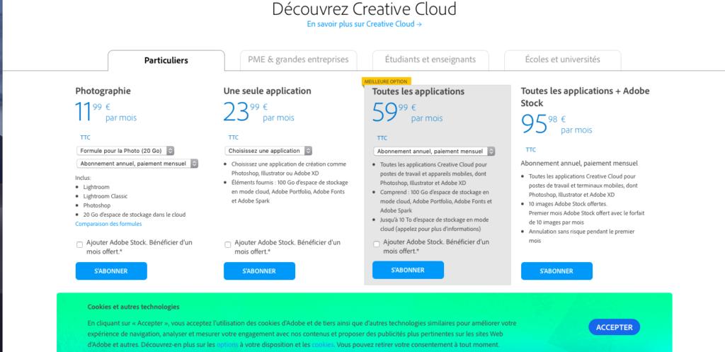 Une capture d'écran de la page d'achat d'abonnements au Creative Cloud d'Adobe