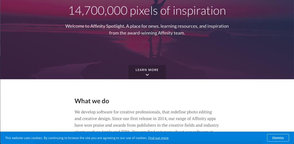 Une capture d'écran du site Affinity Spotlight qui est vraiment très inspirant pour l'utilisation d'affinité Designer