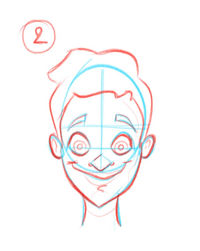 Deuxième étape pour dessiner des visages de face