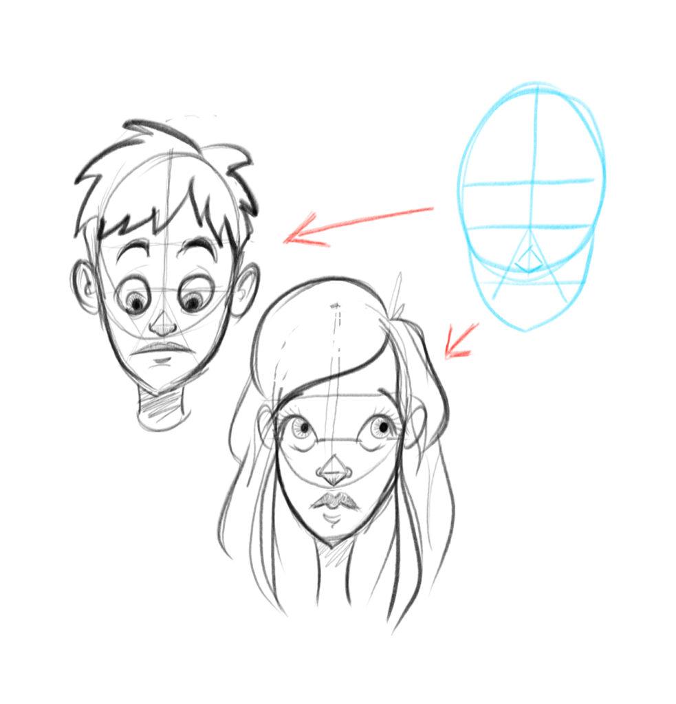 Dessine un garçon et une fille de face en utilisant la même structure