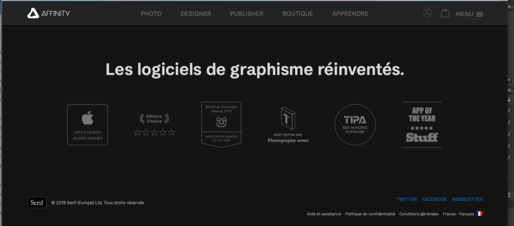 Une capture d'écran du site de Serif