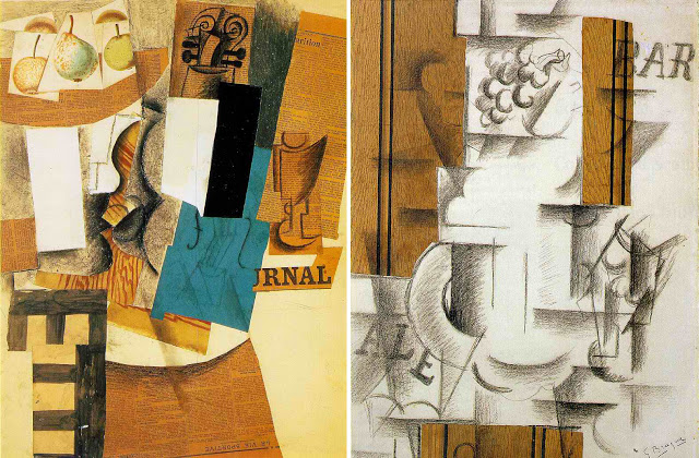 des oeuvres de braque du cubisme synthétique avec des collages et des formes plus simples