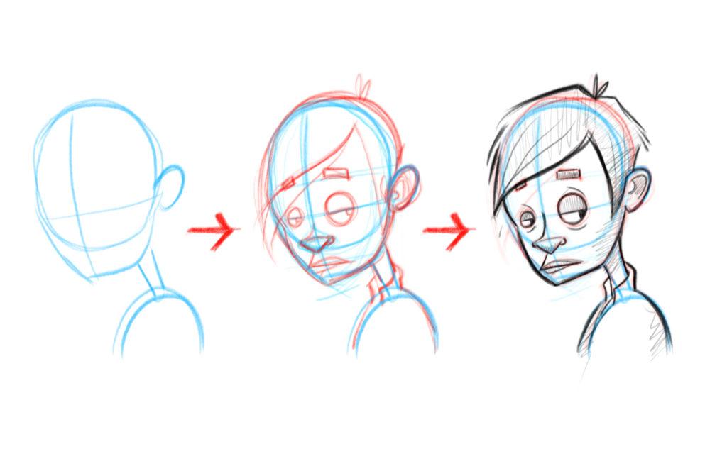 Voici les 3 étapes pour dessiner des visages de 3/4