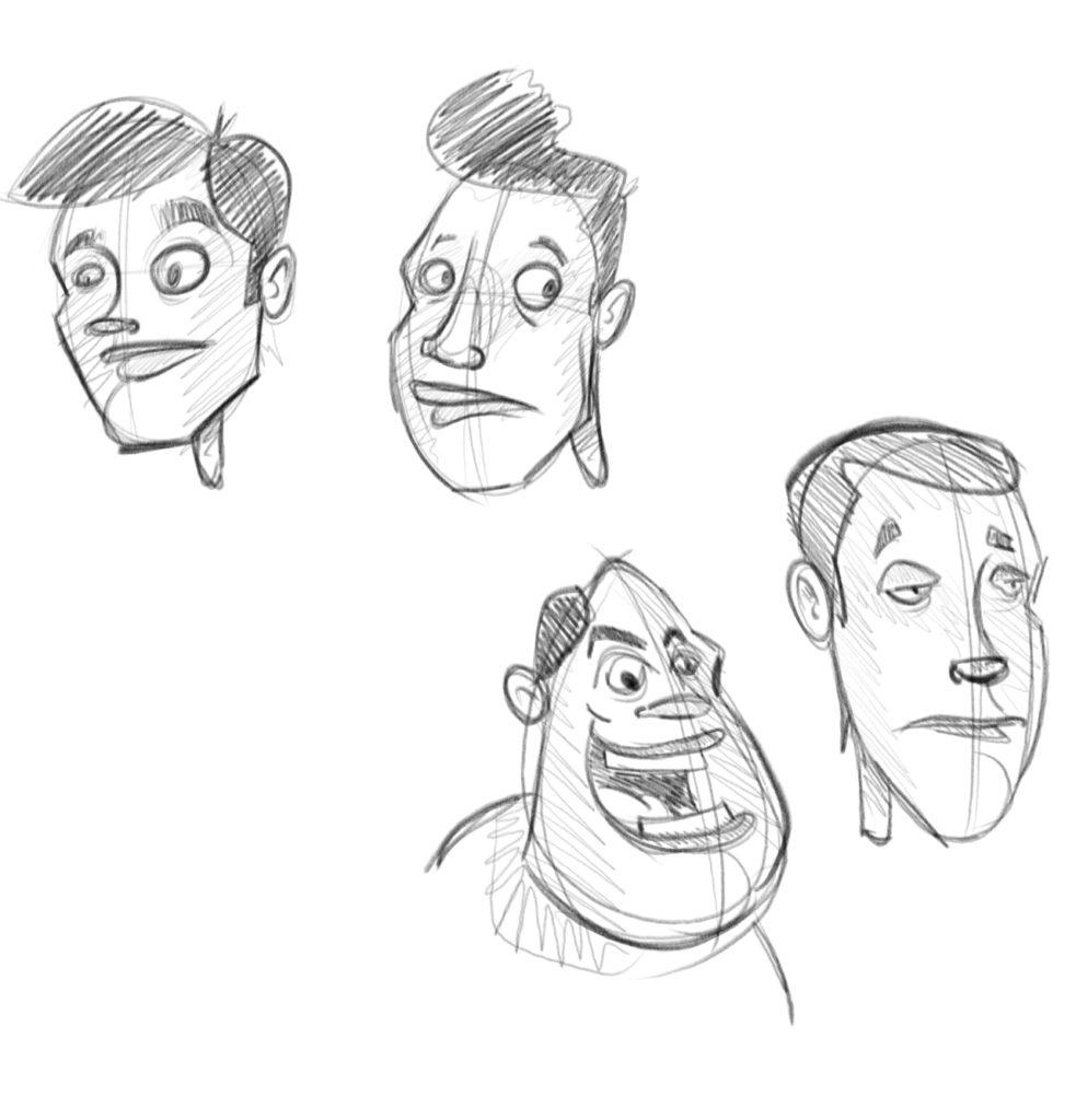 Dessine des visages dans le même angle de vue mais avec des morphologie et des expressions différentes