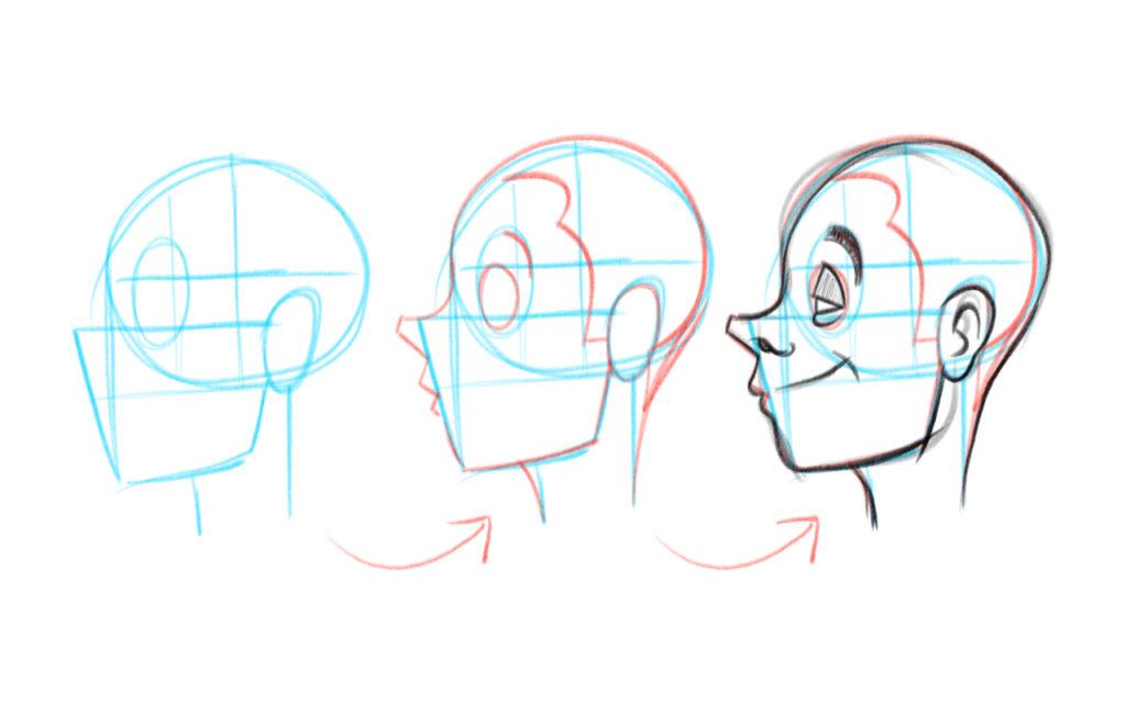 voici les 3 étapes pour dessiner des visages de profil