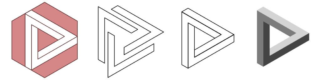 Processus de création d'un triangle de Penrose d'Escher