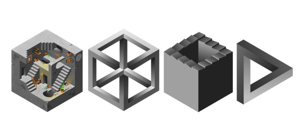 reproduction et inspiration du travail d'Escher en illustration vectorielle et en perspective isométrique